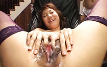 Lots of guys cum on her open pussy