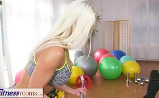 DearSX.com - Fitness Rooms Fit Big Tits Lesbian Babes Have Hot And Sweaty S