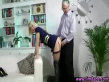 Glamorous blonde in stockings gets fucked