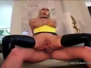 Blonde in latex gets fucked