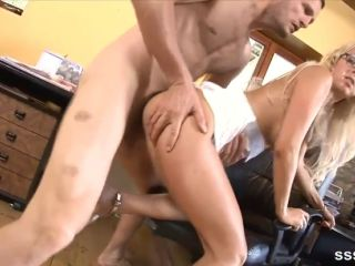 Gorgeous blonde office girl bent over her chair and fucked hard