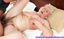 Busty amateur granny gets hairy pussy fucked