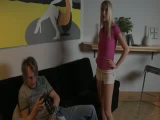 Blond getting Rough fuck on couch