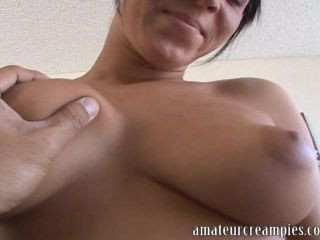 Sexy girl takes cumshots inside her