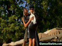 Classy blonde gets fucked outdoors