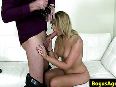 Casted amateur riding on cock for audition