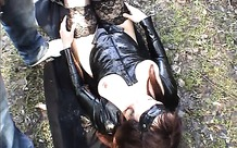 Slutwife pissed on many times in a park