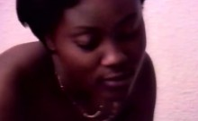 Hot African girl gets fucked in interracial threesome