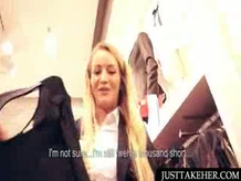 Blond gets paid to fuck in public