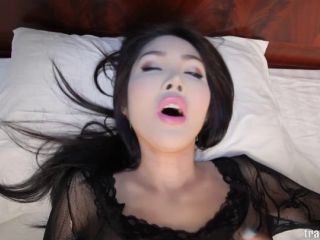 Asian shemale with fake vagina takes big cock